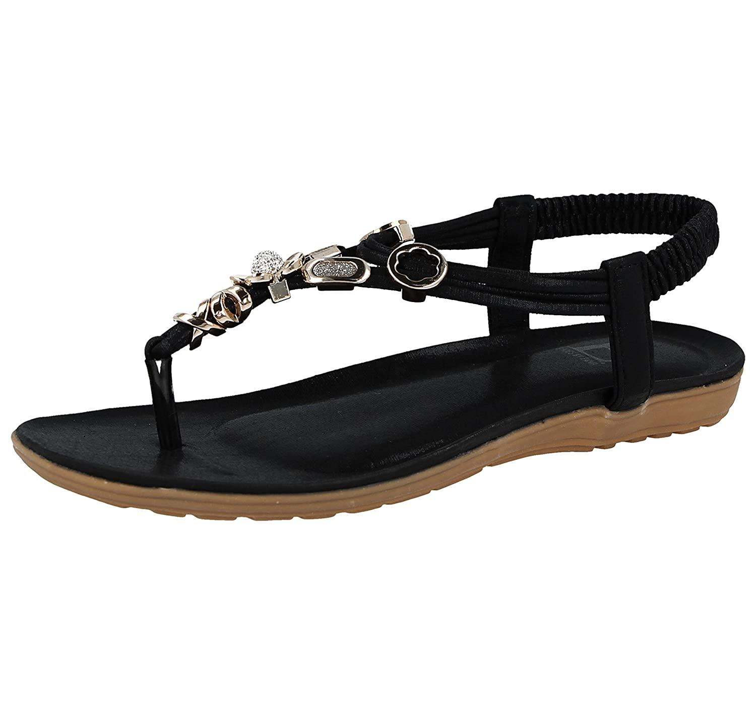 c533ecead5d Shoes By Emma Ladies Emma Faux Leather Metallic Toe Post Sling Back Low  Wedge Flat Summer Sandals Size 3-8  Amazon.co.uk  Shoes   Bags