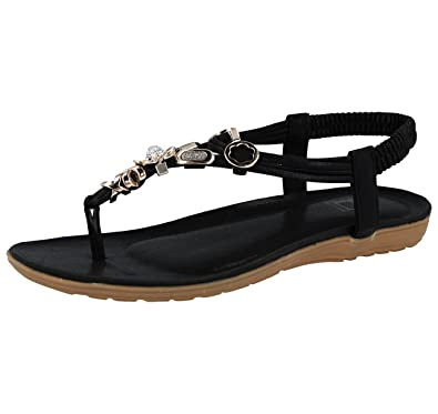 073405fb8a6ba6 Shoes By Emma Ladies Emma Faux Leather Metallic Toe Post Sling Back Low  Wedge Flat Summer Sandals Size 3-8  Amazon.co.uk  Shoes   Bags