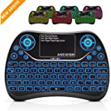 (Updated 2018, Backlit) ANEWISH 2.4GHz Mini Keyboard with Touchpad Mouse Combo, Wireless & Rechargable & Light & Multi-media Handheld Remote for Android TV Box,PS3,PC,PAD (Colorful)