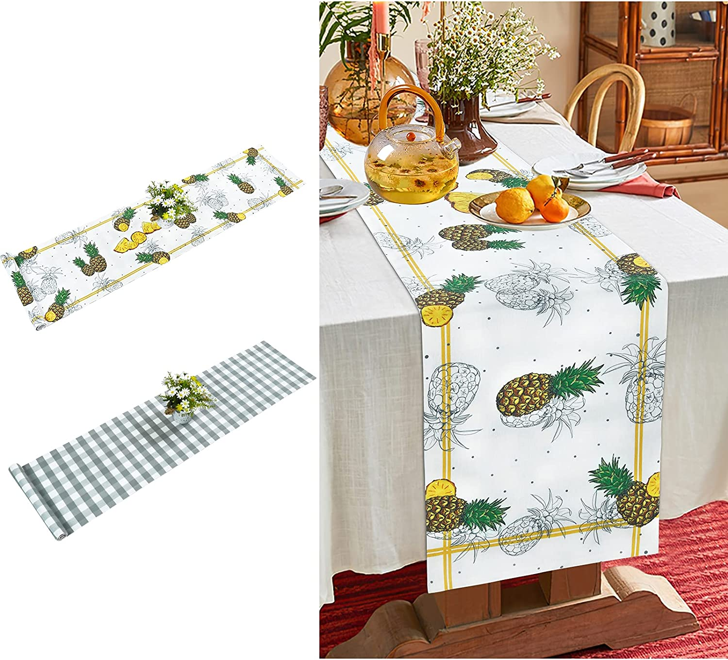ASPMIZ Summer Pineapple Table Runner Double Sided, Reversible Table Runner 70 Inches Long, Buffalo Plaid Table Runners for Farmhouse Kitchen, Dinner Holiday Parties Wedding Decor, 13 X 72 Inch