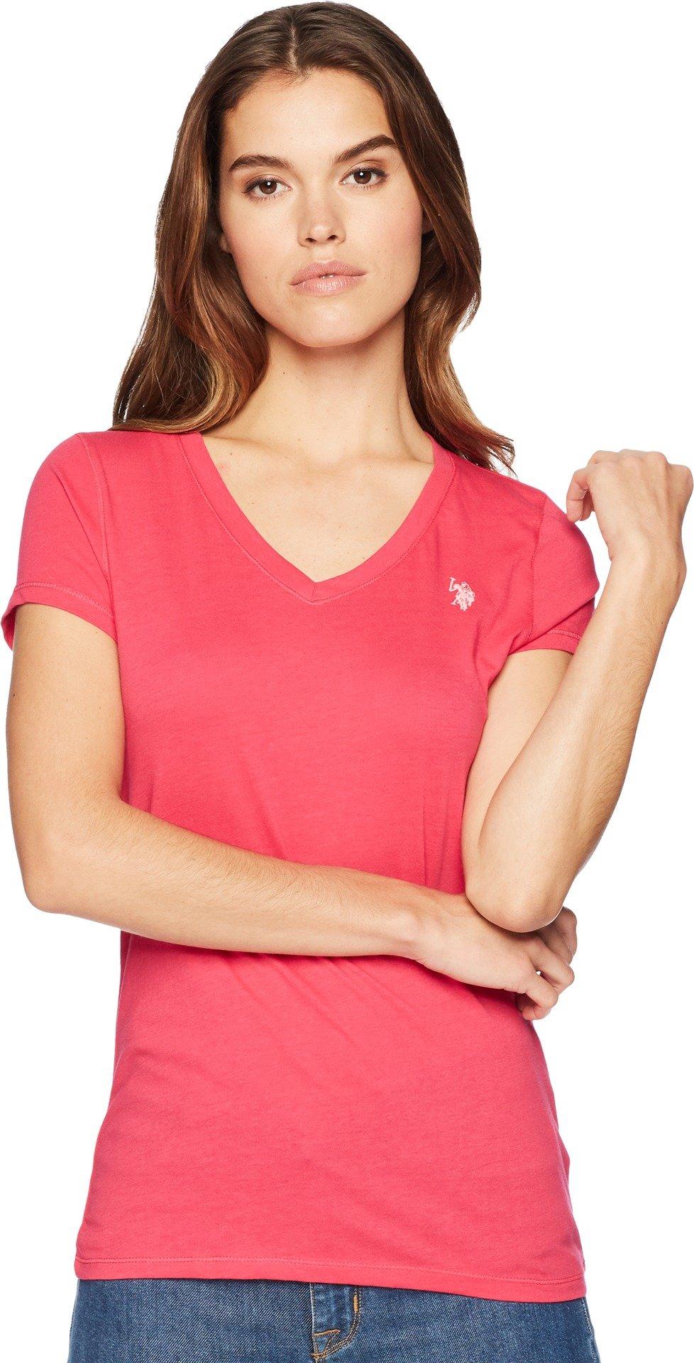 US Polo Assn Women's Short Sleeve V-Neck T-Shirt, Bright Rose, XL