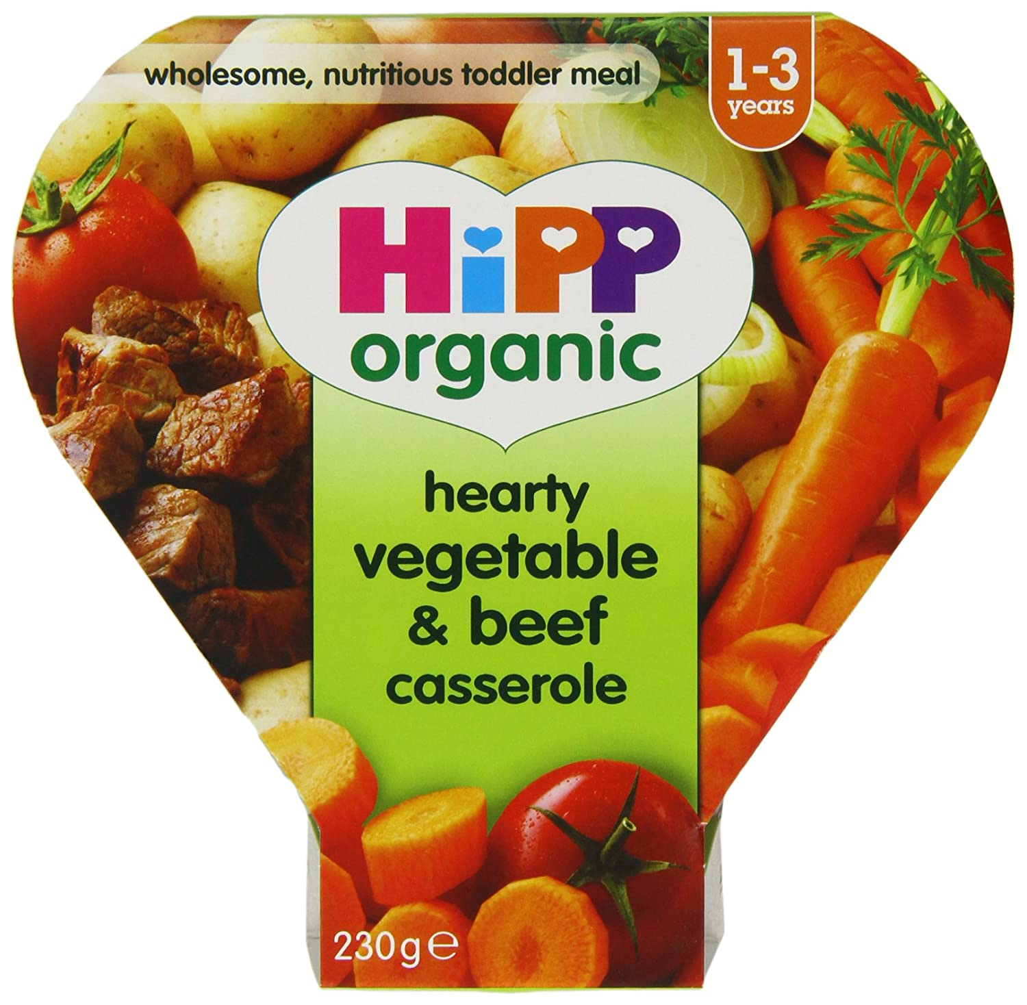 Hipp Organic Hearty Vegetable and Beef Casserole Tray Meal from 12 Months 230 g (Pack of 5) GB7877.46