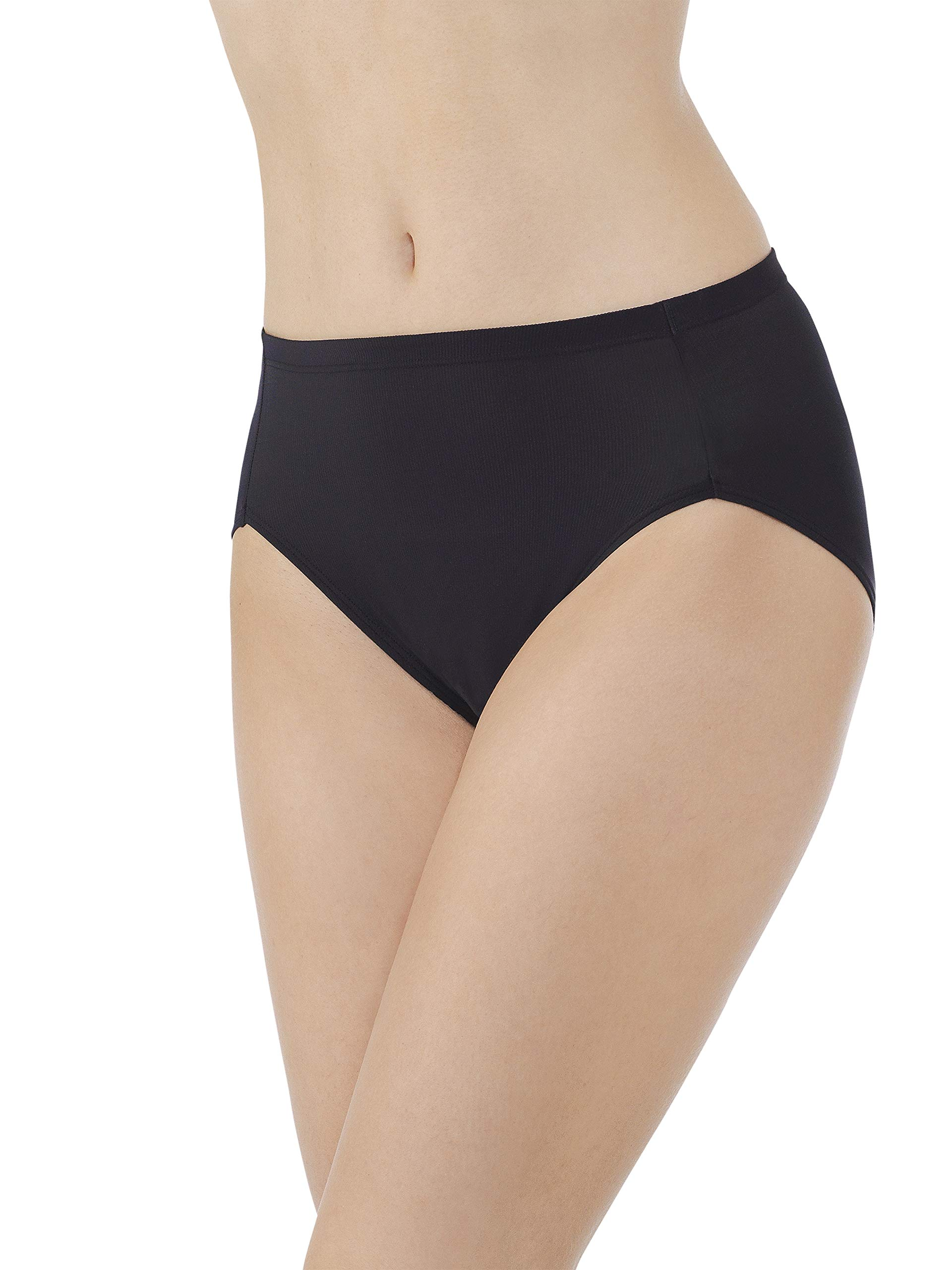 Vanity Fair Women's Cooling Touch Hi Cut Panty 13124, Midnight Black, X-Large/8