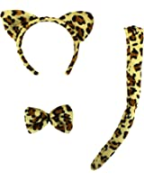 SWT Leopard Animal Print Fancy Dress Set --- Ears & Bow Tie & Tail --- One Size Fits All