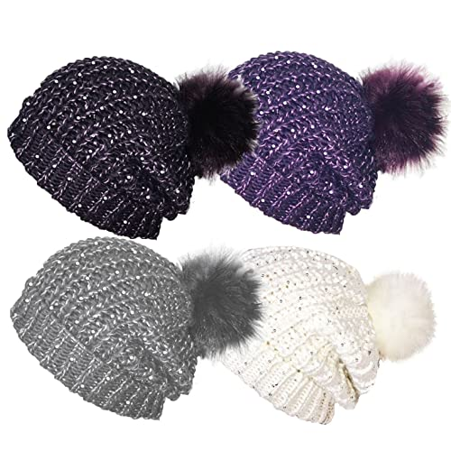 Ladies Rock Jock Cable Knit Beanie Hat With Sequins & Detachable Pom Pom HAI-633 Cream
