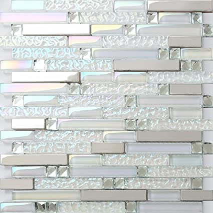 Tremendous Hominter 11 Sheets Iridescent Glass Tile Backsplash Silver Stainless Steel Metal Mosaic Tile Rhinestone Crystal Bathroom And Kitchen Tiles Nb01 Home Interior And Landscaping Ologienasavecom