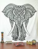 Indian Elephant Tapestry, Hippie Tapestries, Tapestry Wall Hanging, Indian Black & White Tapestry , Bohemian Dorm Decor Mandala Tapestries, Pyshedlic Tapestry