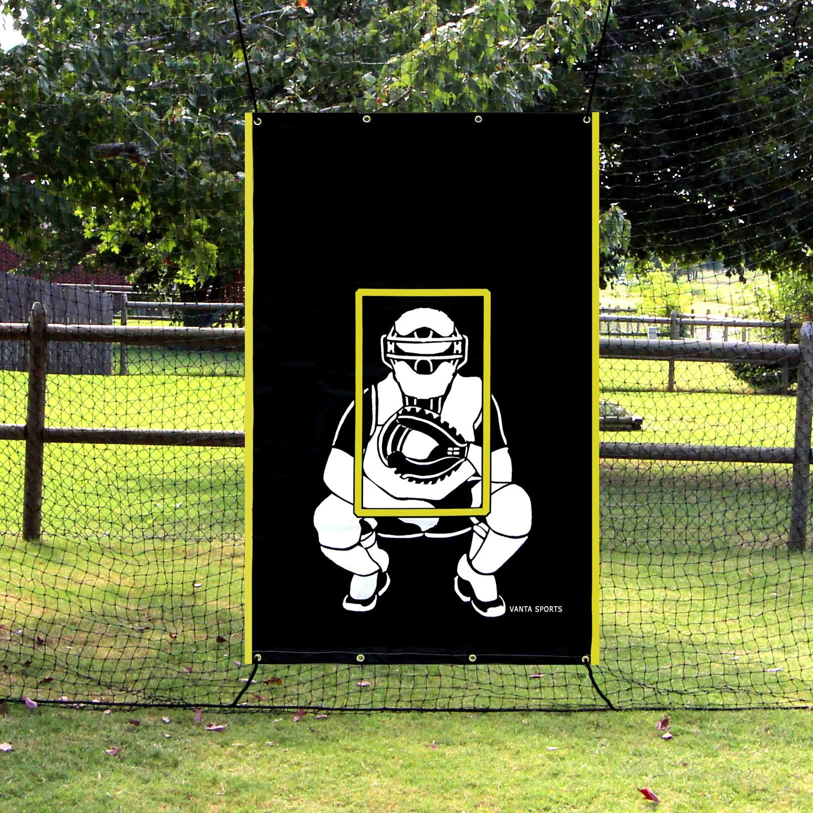 Vanta Sports Baseball Softball Heavy Vinyl 4x6 Backstop Net Saver with Catcher Image and Pitching Zone Target Trainer by Vanta Sports