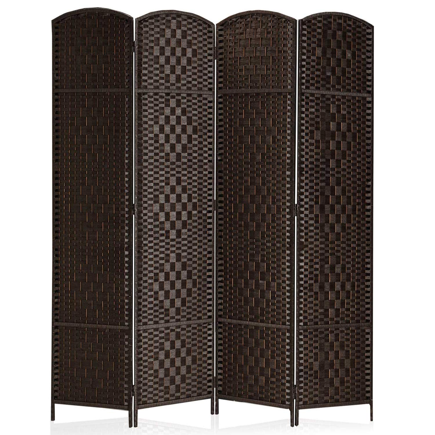 Rose Home Fashion RHF 6 ft.Tall-15.7'' Wide Diamond Weave Fiber 4 Panels Room Divider/4 Panels Screen Folding Privacy Partition Wall Room Divider Freestanding 4 Panel Dark Coffee by Rose Home Fashion