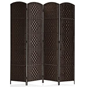 """Rose Home Fashion RHF 6 ft.Tall-15.7"""" Wide Diamond Weave Fiber 4 Panels Room Divider/4 Panels Screen Folding Privacy Partition Wall Room Divider Freestanding 4 Panel Dark Coffee"""