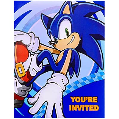 Birthday Express Sonic The Hedgehog Invitations with Envelopes, 8-Count: Toys & Games