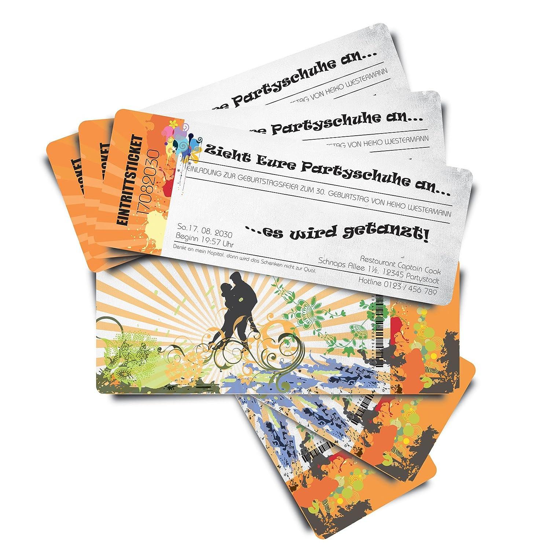 40 Geburtstagskarten Geburtstagseinladungen Einladungskarten  Tanzparty  - weiß - Ticket Eintrittskarte mit Abriss-Coupon B076H2KQ85 | Neuheit  | Moderner Modus  | Qualitativ Hochwertiges Produkt