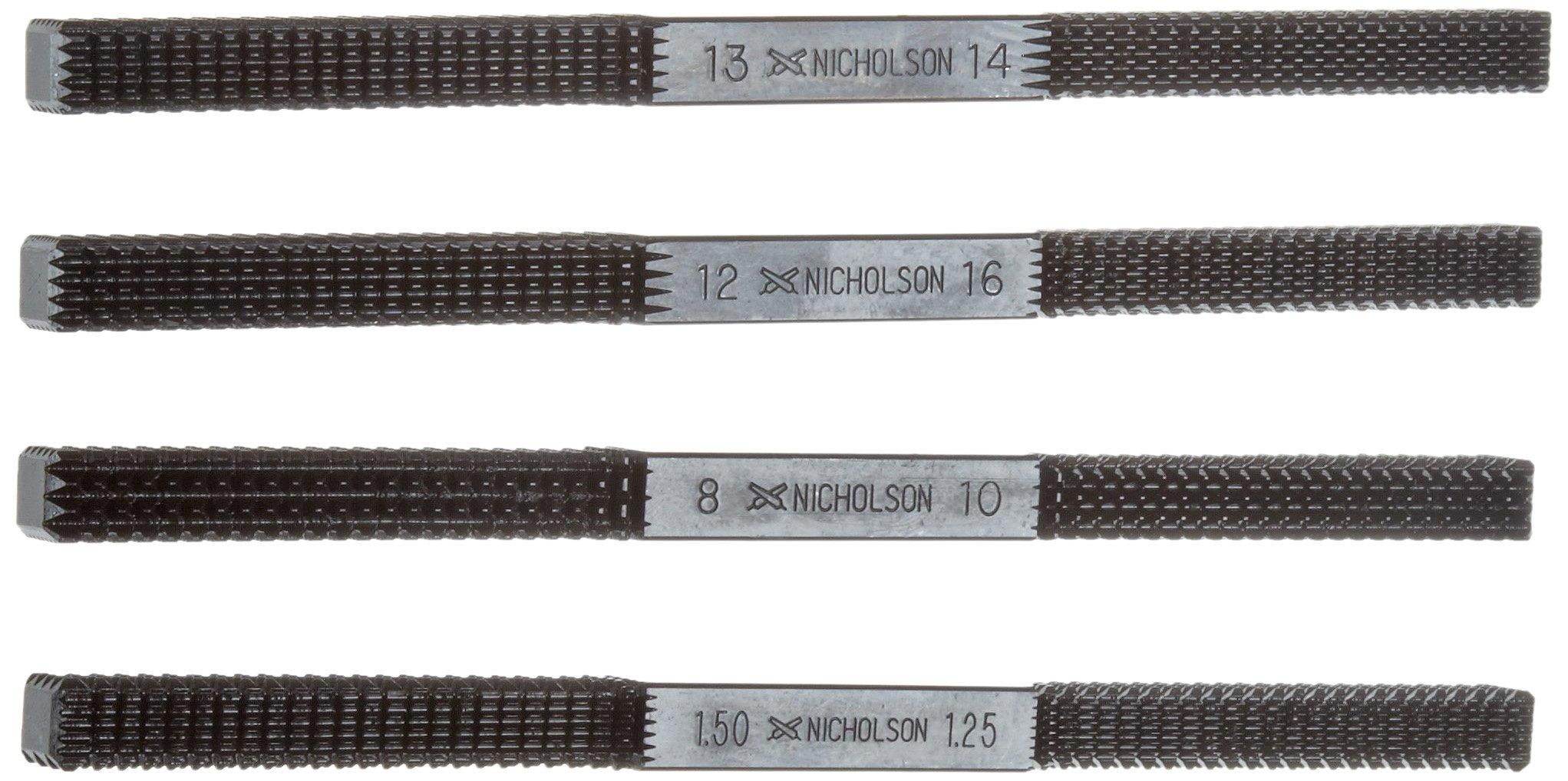 Nicholson 4 Piece Thread Repair File Set, Single Cut, Square Shape, Fine, 8-3/8'' Length