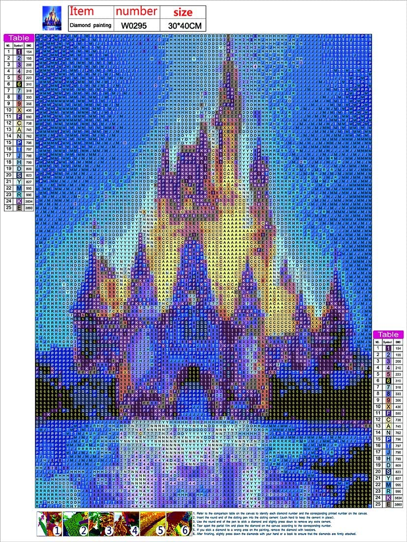 Castle 2 Pack DIY 5D Diamond Painting by Number Kits Crystal Rhinestone Diamond Embroidery Paintings Pictures Arts Craft for Home Wall Decor