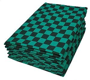 ふんわりプリント工房 市松模様 和柄 緑×黒 生地 布 ブラック×グリーン 巾約133cm×100㎝