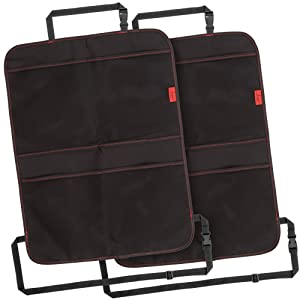 Kick Mats (2 Pack) - Car Seat Back Protectors with Odor Free, Premium Waterproof Fabric, Reinforced Corners to Prevent Sag, and 4 Mesh Pockets for Large Storage