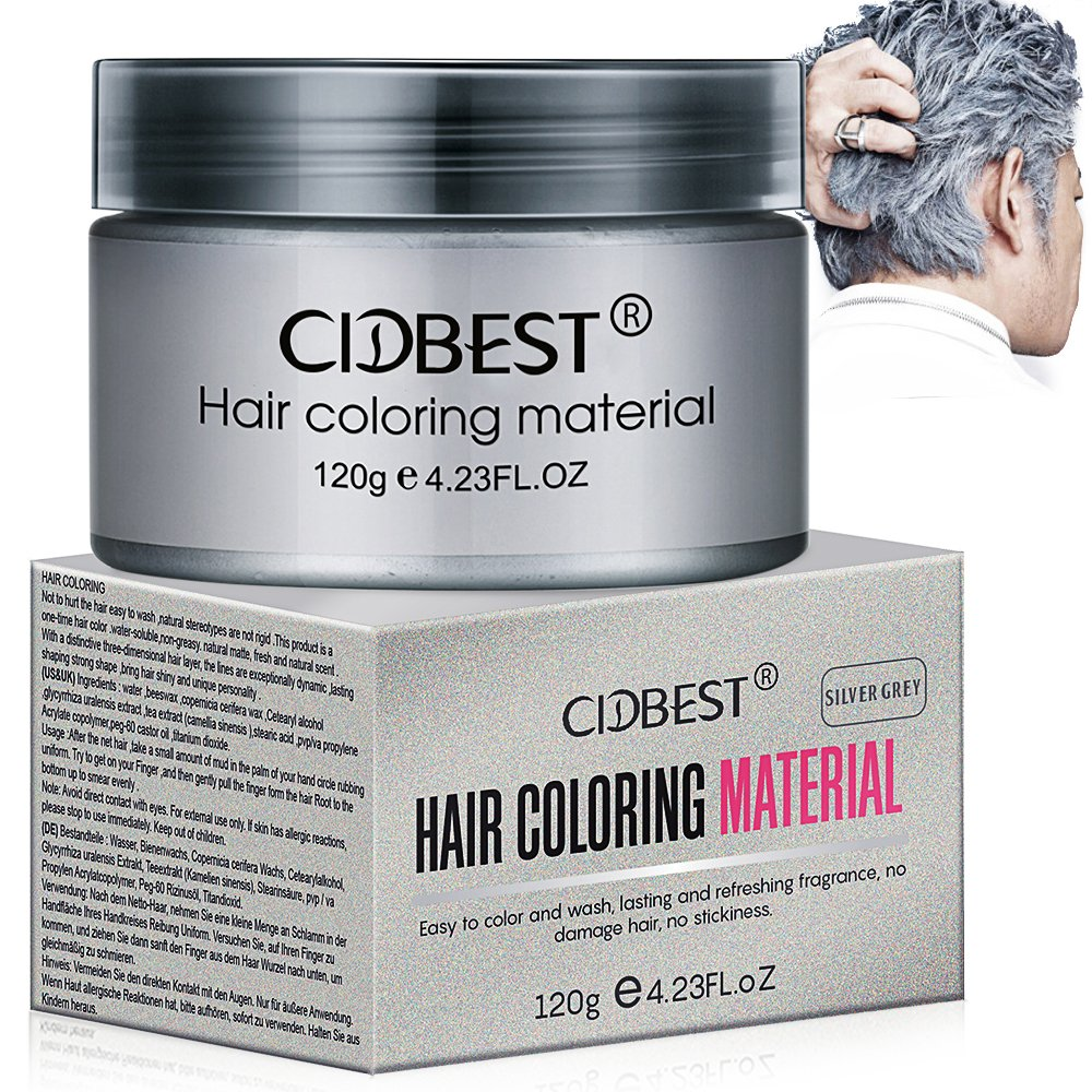 Amazon Hair Wax Silver Grey Hair Color Wax Temporary Hair Mud
