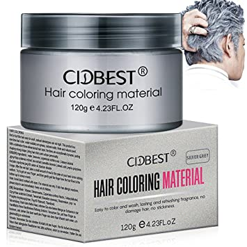 Amazon.com: Hair Wax, Silver Grey Hair Color Wax, Temporary Hair Mud ...