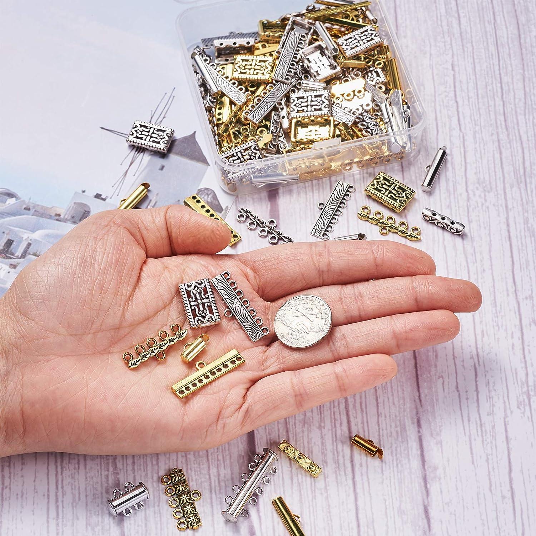 Cheriswelry Lot de 48 fermoirs magn/étiques /à glissi/ère avec 60 attaches de style tib/étain et 40 barres dentretoises rectangulaires pour la fabrication de bijoux