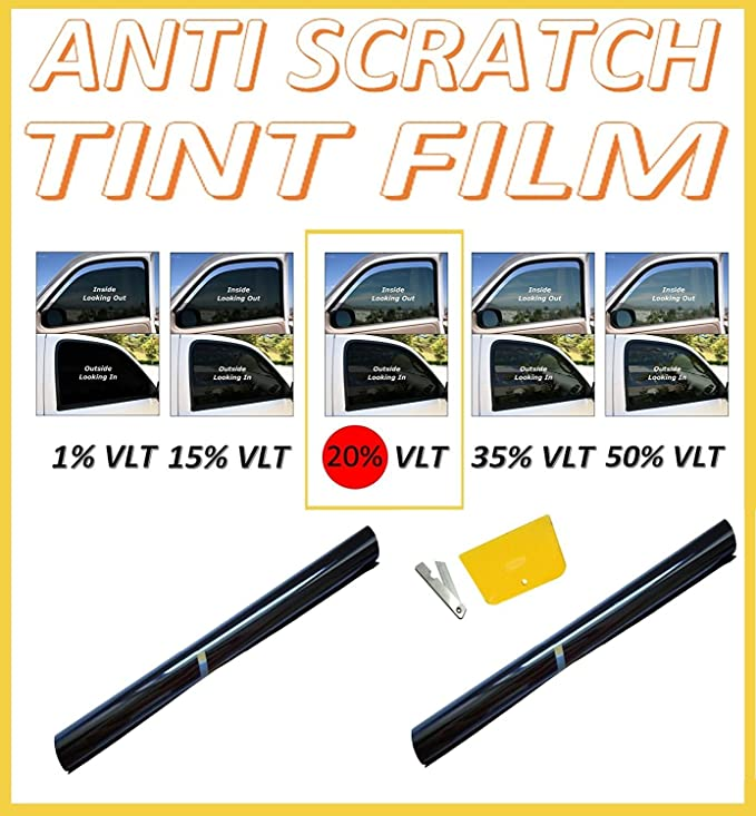flexzon Window Tint Film Tinting Kit Smoke Black 35/% 76cm X 3M