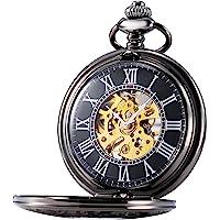 TREEWETO Mens Classic Mechanical Steampunk Pocket Watch Black Case Roman Numerals, Black
