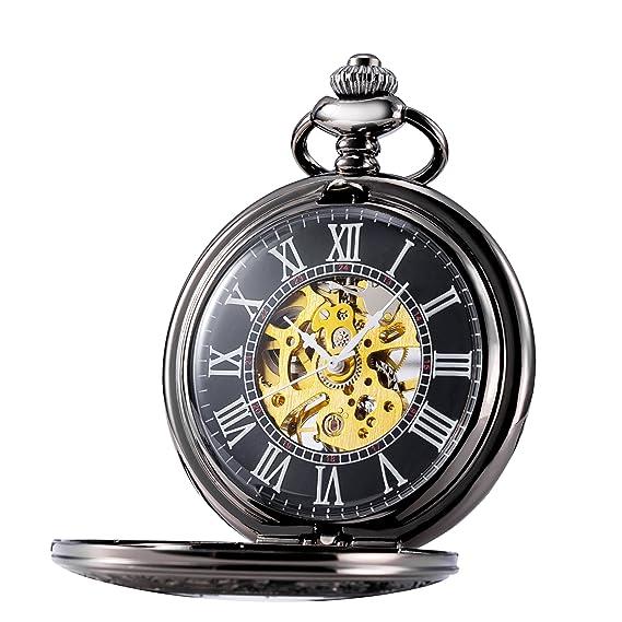 treeweto Mens Classic mecánica Steampunk Reloj de bolsillo negro funda números romanos, negro: Amazon.es: Relojes