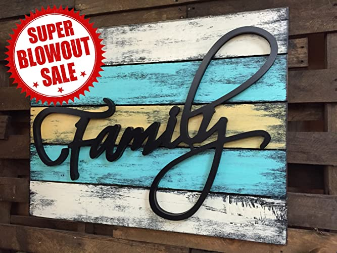 Fresh Amazon.com: FAMILY Wall Decor Pallet Style Sign 32