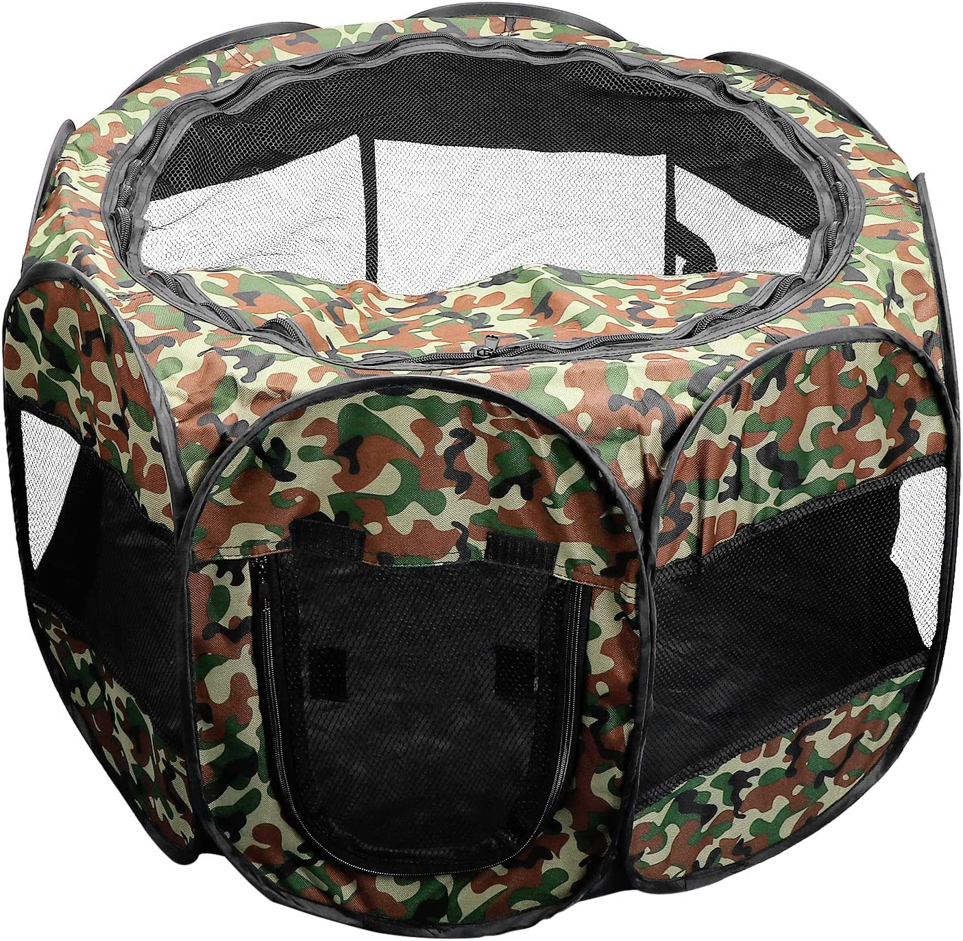 KEESIN Foldable Pet Tent 8-Panel Mesh House Puppy Playpen Kennel for Dog Cat Rabbit 73 * 73 * 43cm, Camouflage Green