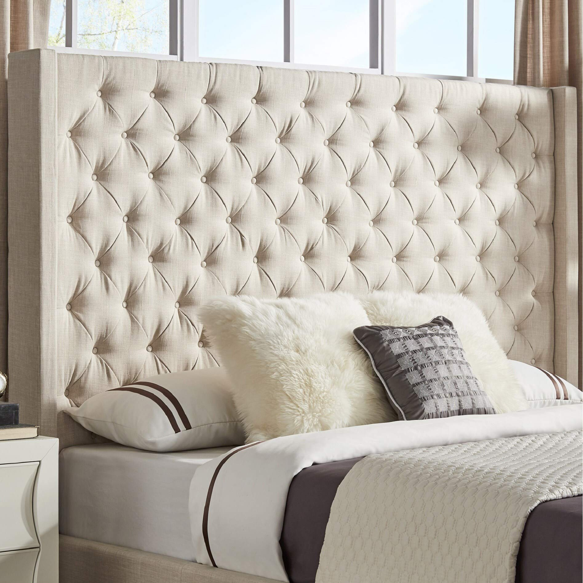 Inspire Q Naples Wingback Button Tufted Tall adboards by Artisan Beige King by Inspire Q