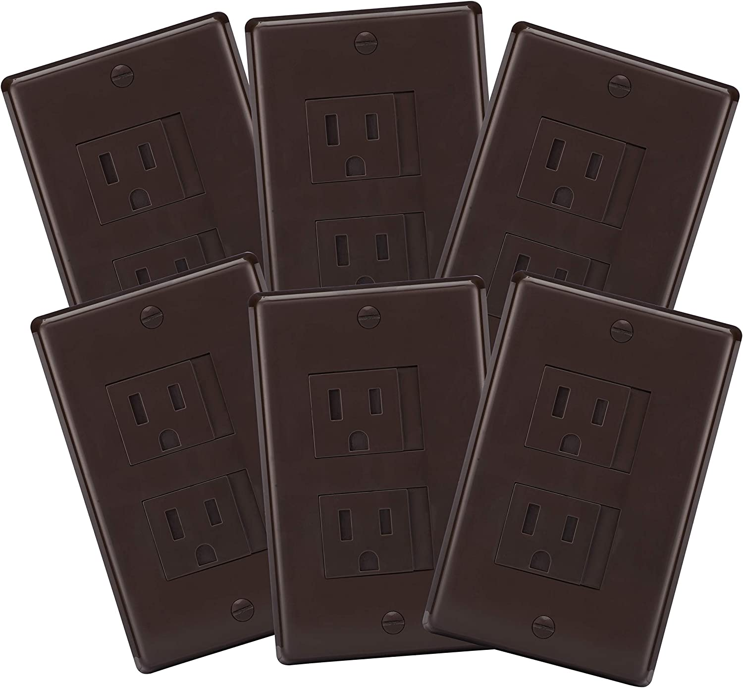 6-Pack Safety Innovations Self-Closing (1 Screw) Standard Outlet Covers - ein Alternative zu Wall Socket Plugs für Child Proofing Outlets (Espresso)