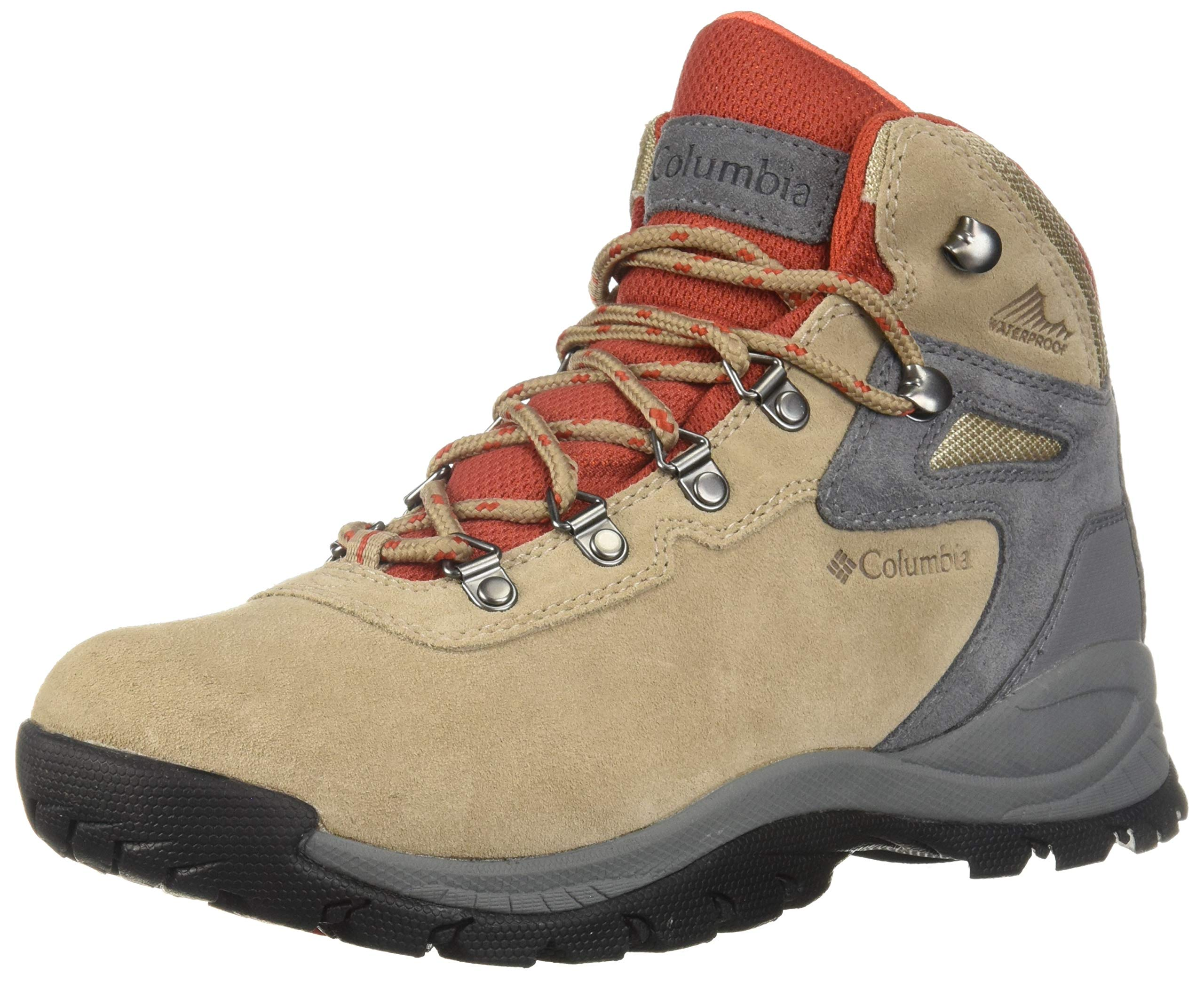 Columbia Women's Newton Ridge Plus Waterproof Amped Hiking Boot, Oxford Tan/Flame, 8 Wide US