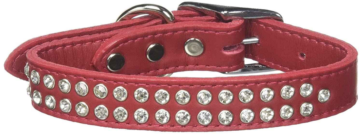 16\ Mirage Pet Products Two Row Clear Jeweled Leather Red Dog Collar, 16