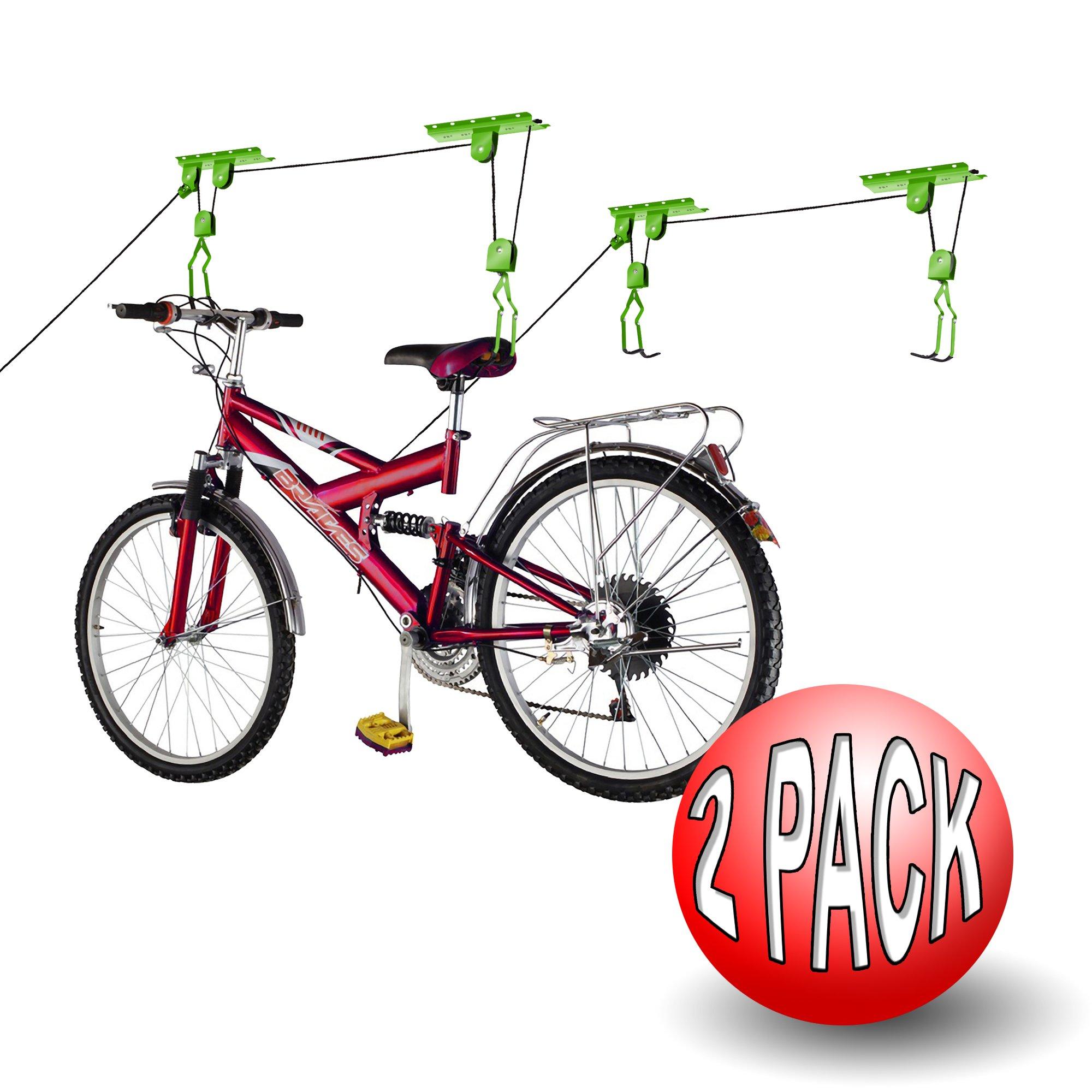 Bike Lane Products Bicycle Storage Lift Bike Hoist 100Lb Capacity Heavy Duty 2 Pack, Green