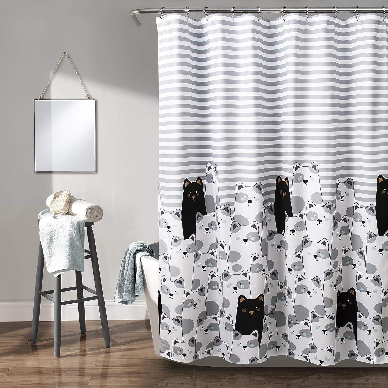 "Lush Decor Stripe Bear Shower Curtain-Fabric Animal Zoo Cartoon Print Design for Kids Bathroom, x 72"", Gray and Black, Gray & Black"