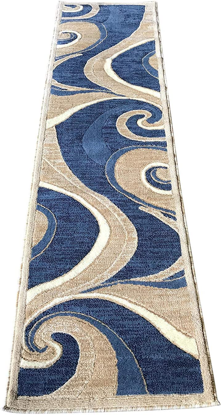 Americana Modern Runner Contemporary Area Rug Blue Beige Abstract Design 144 (2 Feet X 7 Feet 3 Inch)
