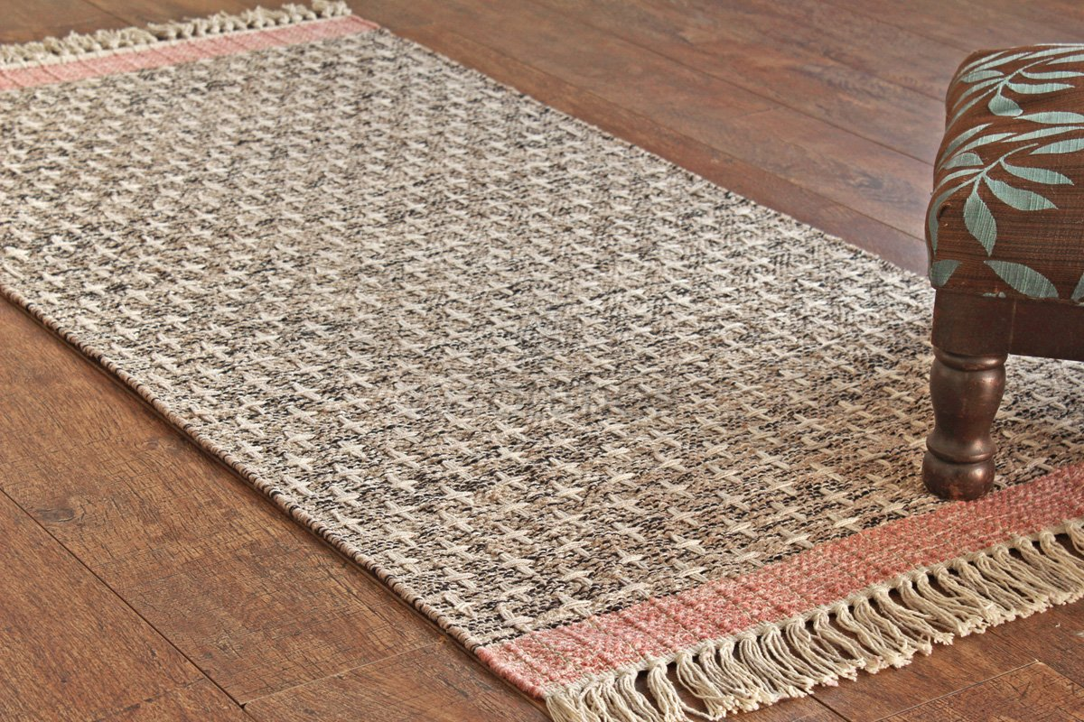 Rugolution Handmade 2'x4' / 60x120 Cm Natural Tie Dye Yarn All Over Pattern Area Rug, 100 Percents Cotton, Style: 2575 by Rugolution