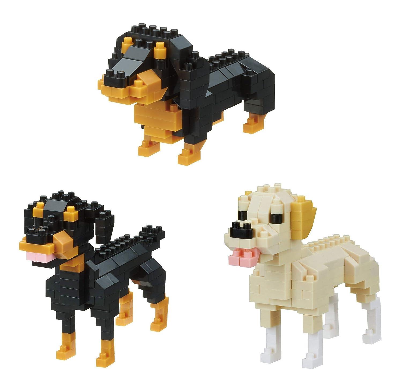 Japan Import Kawada Nanoblocks 3 Different Dogs in Bundled Set Miniature Dachshund Labrador Retriever and Rottweiler