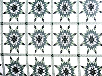3 Yards King Size Cheater Quilt Top Starlast Green 90 x 108