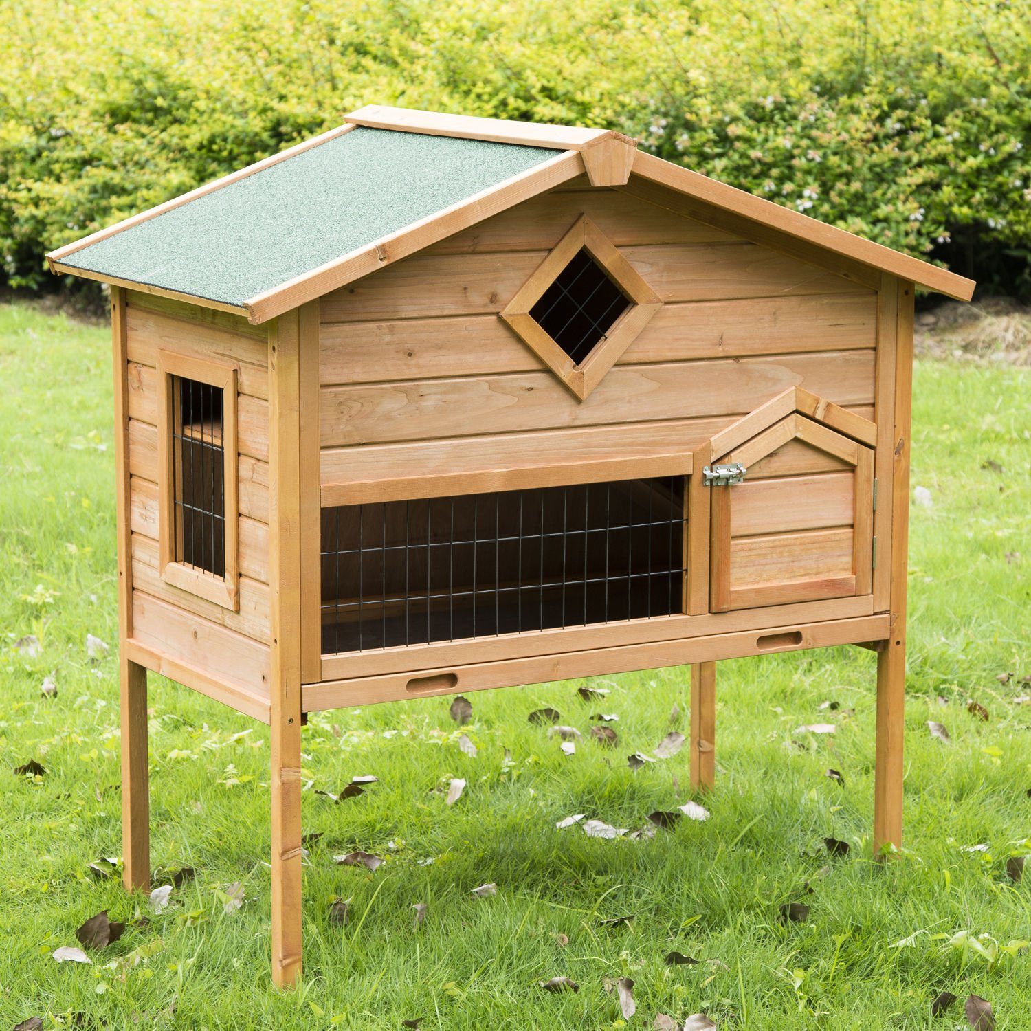 GHP Home & Garden 43.3''W×26''D×45.3''H 2-Story Sturdy Natural Wood Animal Cage