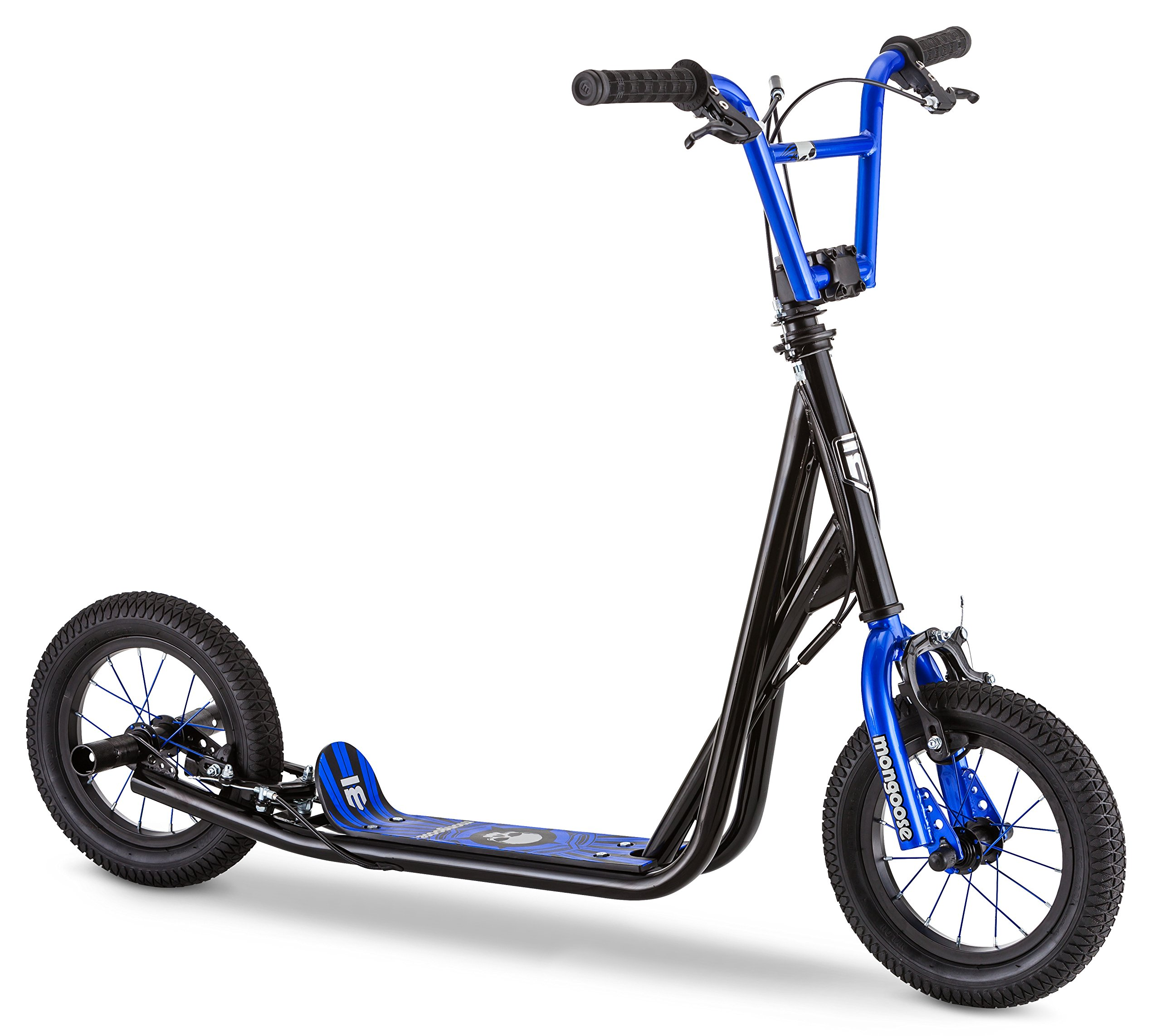 Mongoose Expo Scooter, Featuring Front and Rear Caliper Brakes and Rear Axle Pegs with 12-Inch Inflatable Wheels, Black/Blue by Mongoose