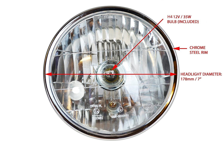 Universale Motocicletta Metallo Nero Cafe Racer Project Custom Faro Omologato