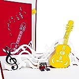 """Glückwunschkarte """"Gitarre mit Notenschlüssel"""", 3D Pop up, handgefertigt, Grußkarte Musik, Geburtstagskarte z.B. als Gutschein für Gitarre oder Musikunterricht, für Musiker"""