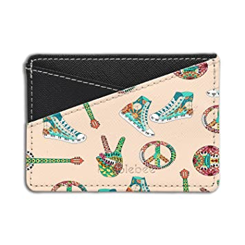 Retro Hippie Peace Printed Credit Card & Cash Holder Wallet By