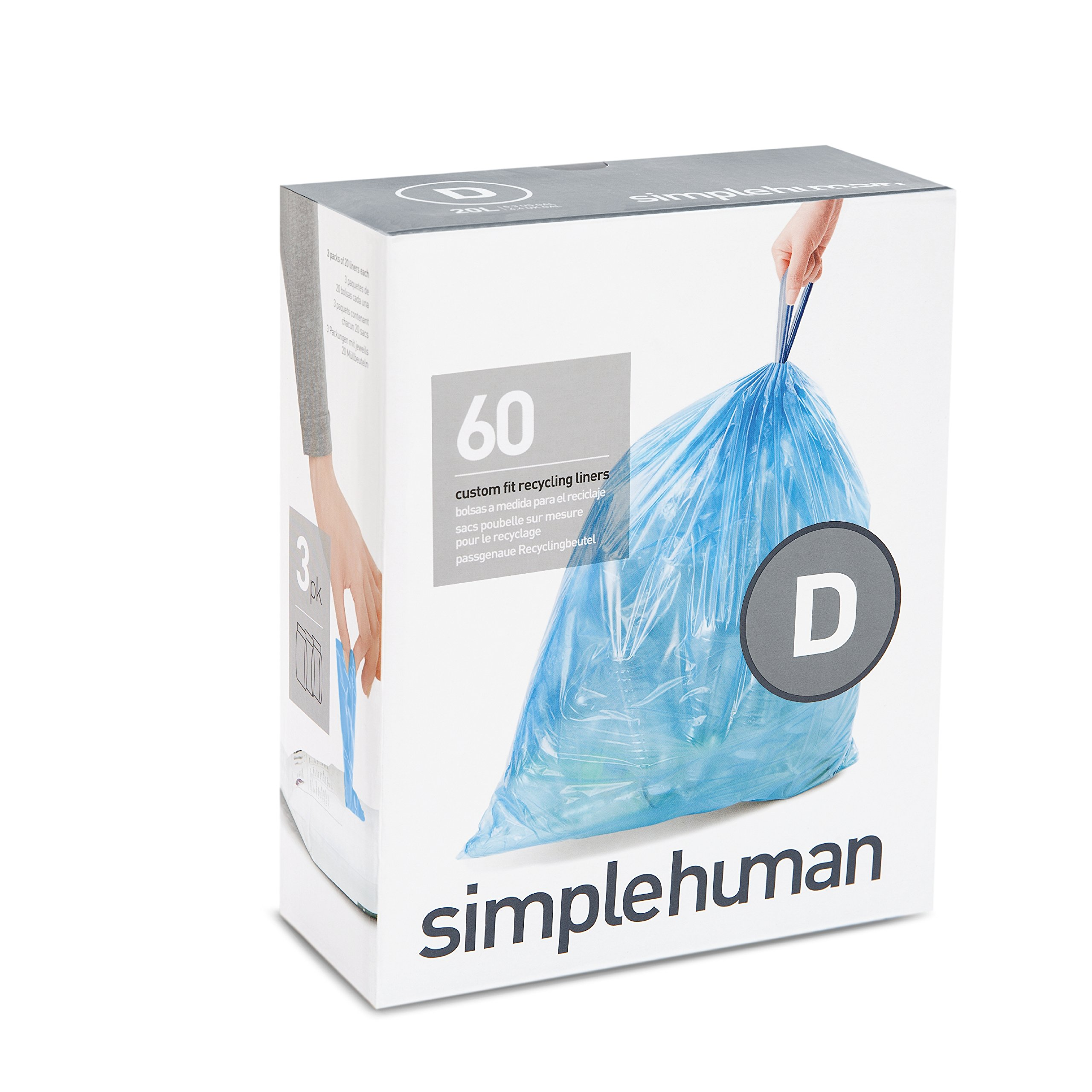simplehuman code D custom fit recycling liners, 3 refill packs (60 liners), Code D recycling - 20L / 5.2 Gallon, Blue by simplehuman