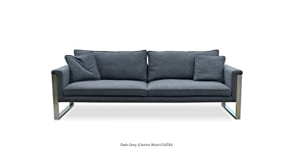Soho Concept BostonS SS DHCW Sofa With Stainless Steel Base, Dark Grey  Camira