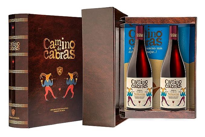 CAMINO DE CABRAS Estuche regalo – Producto Gourmet – Vino tinto – Mencía DO Valdeorras - Vino bueno para regalo - 2 botellas x 75cl