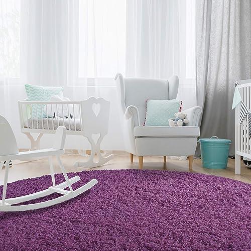 iCustomRug Affordable Shaggy Rug Dixie Cozy Soft Kids Shag Area Rug Solid Color Purple
