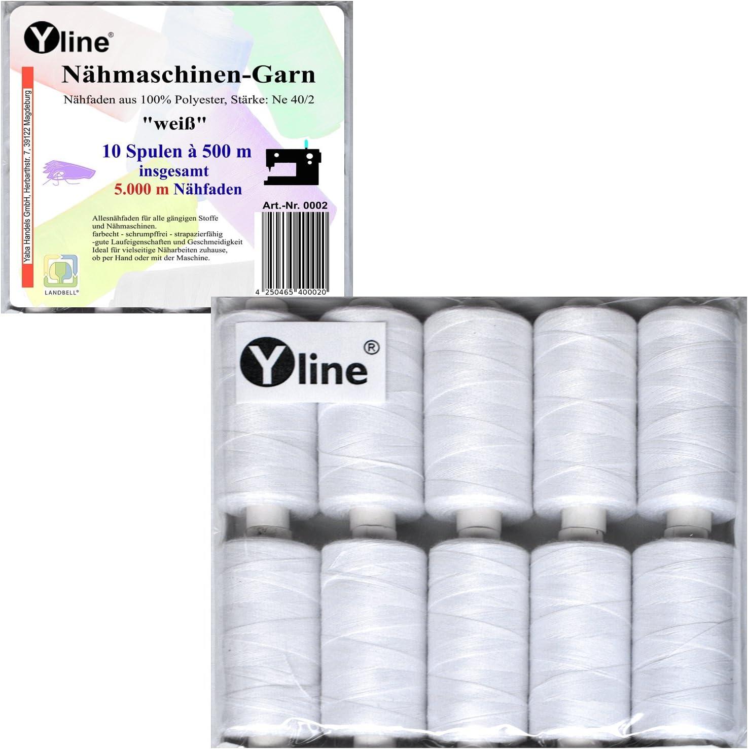 Hilo de coser/cada hilo poliéster blanco para máquina de coser 10 las columnas a, 500 m y 2 las columnas a, 50 m Hilo de coser de clip, 0002