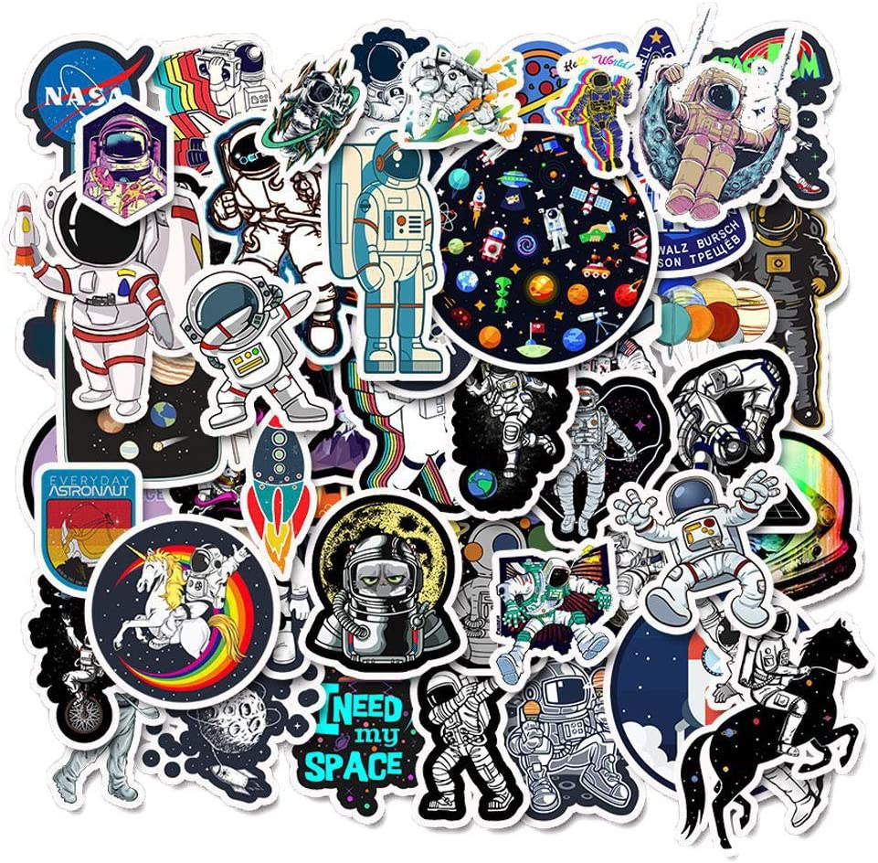 50 Pack Space Explorer Apollo Moon Landing Astronaut Spaceman Universe Planet Galaxy NASA Stickers for Laptop Water Bottle Computer Phone Hydroflasks Waterproof Vinyl Sticker Decal for Adults Teens