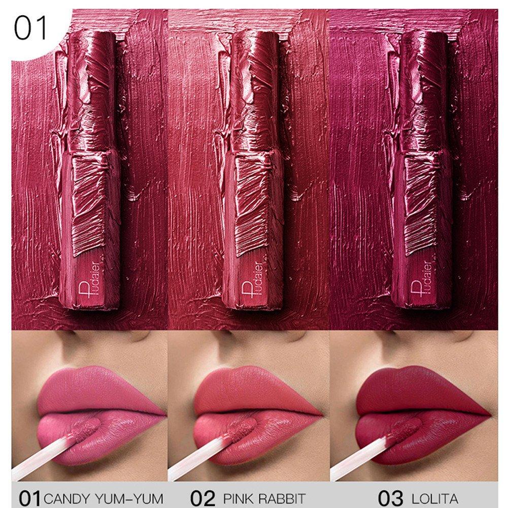 Rossetto LandFox Rouge Crema per le Labbra rossetto impermeabile opaco zucca color rossetto ricco di vitamina E Matita labbra liquide non sbiadite matt lunga durata waterproof 3 pezzi/set (C) LandFox-1